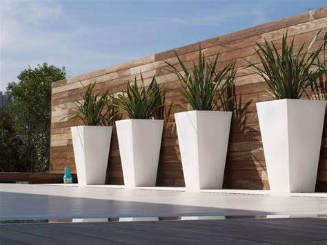 large modern outdoor planters outside
