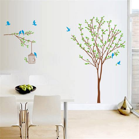 blue bird home decor blue birds cage on the tree wall stickers for kids rooms