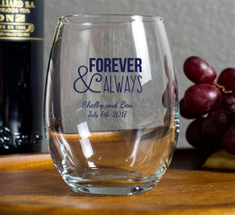 Wedding Favors Wine by Personalized 9 Oz Stemless Wine Glass Wedding Favor