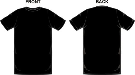 black t shirt template front and back clipart the cliparts