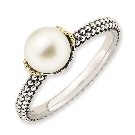 silver ring antiqued white freshwater pearl