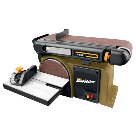 bench sanders rockwell 4 3 amp 6 in disk 4 in x 36 in belt sander rk7866 the home depot