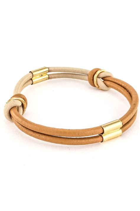 And Bracelet gold plated leather bracelet bracelets