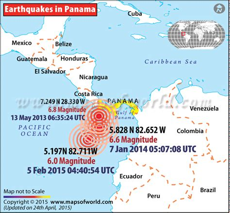 earthquake history map earthquakes in panama areas affected by earthquacks in