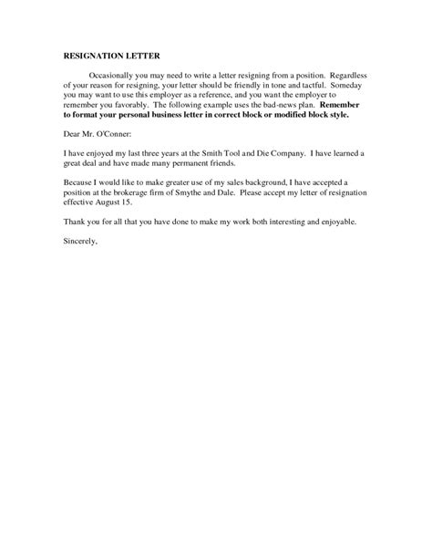Letter Of Resignation Sles Free by Resignation Letters Sles Professional Resignation Letter Sle How To Write A Resignation