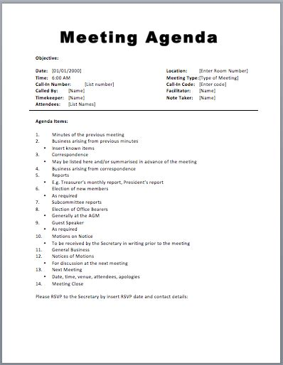 Meeting Agenda Template Free 18 free meeting agenda templates bates on design