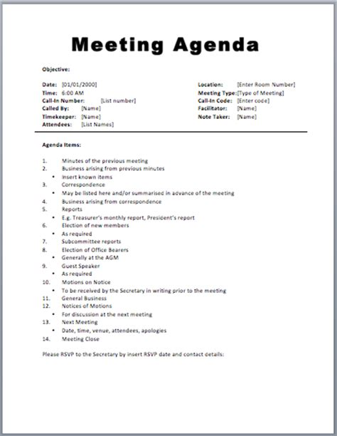 Meeting Agenda Template Word 20 meeting agenda templates word excel pdf formats