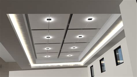 coffered ceiling with dropped panels rope lighting
