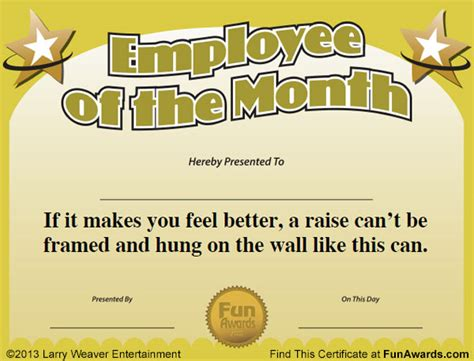 silly certificates awards templates employee of the month certificate template