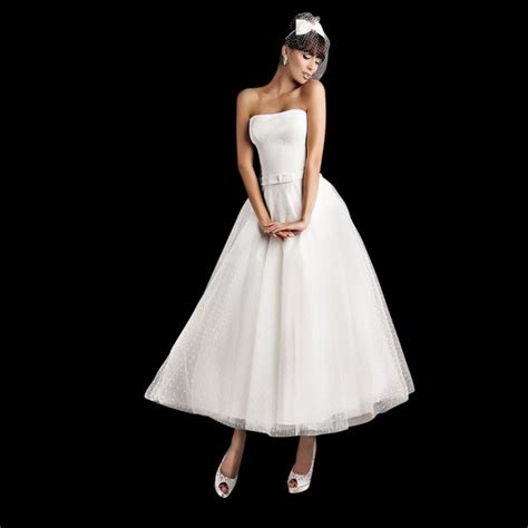 sally tea length polka dot strapless wedding dress with