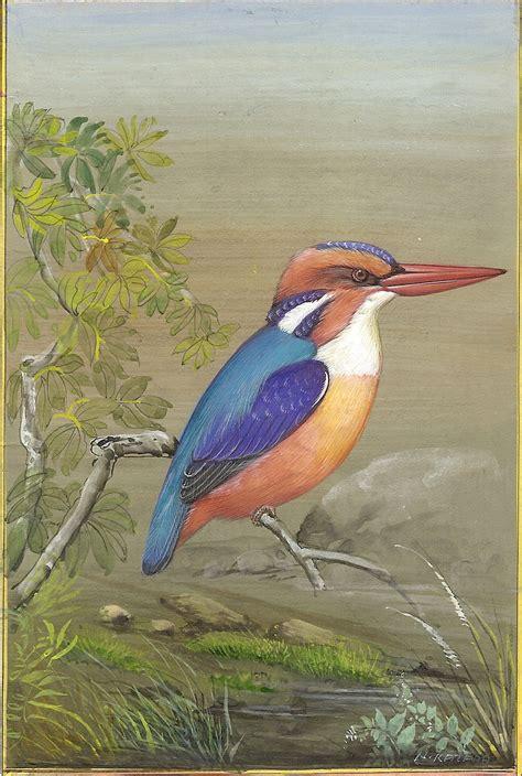 Handmade In India - kingfisher bird painting handmade ornithology