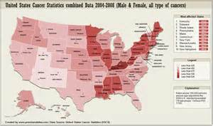 data map of us united states cancer statistics map visual ly