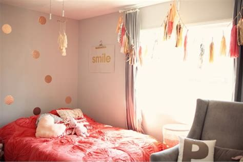whimsy pink glittery gold  grey teen bedroom design
