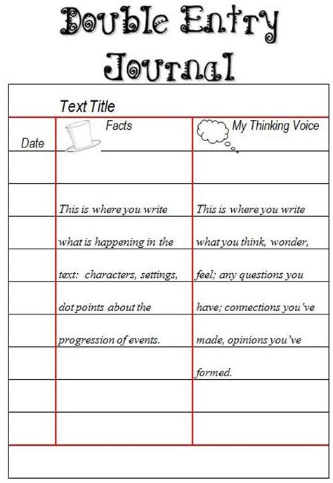 entry journal template for word senior reading responses margd teaching posters