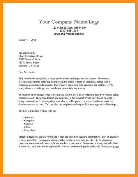 Business Letter Format Template Memo Exle Letter Templates Business