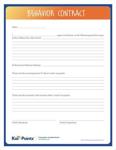 Behavior Contract Kid Pointz Behavior Contract Template Elementary