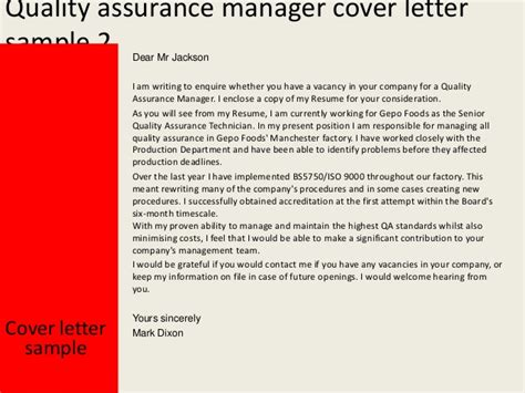 Motivation Letter For Quality Assurance Quality Assurance Manager Cover Letter
