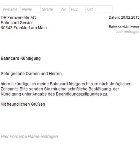 Widerspruch Musterbrief Deutsche Bahn Bahncard K 252 Ndigungsschreiben