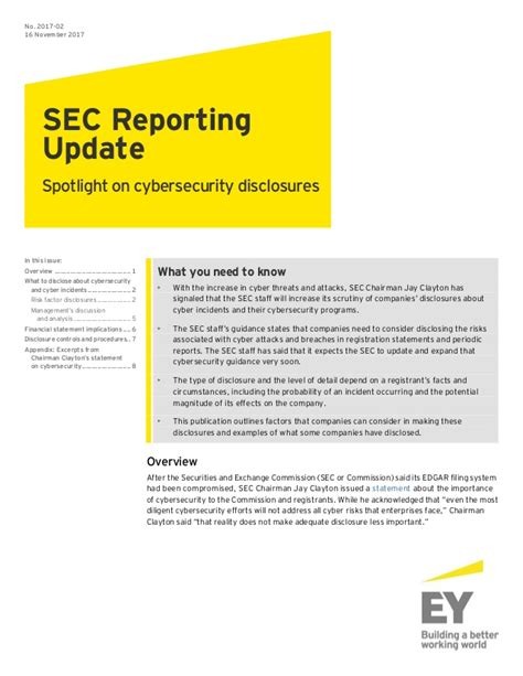 section 16 reporting ey sec reporting update spotlight on cybersecurity