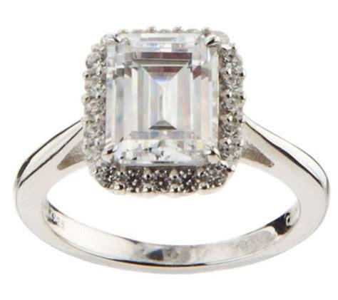 epiphany diamonique framed emerald cut ring qvc