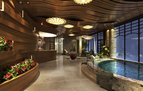 lobby interior design of spa resort hotel