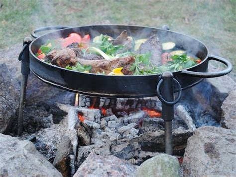 cast iron firepit grilling with cast iron in a firepit