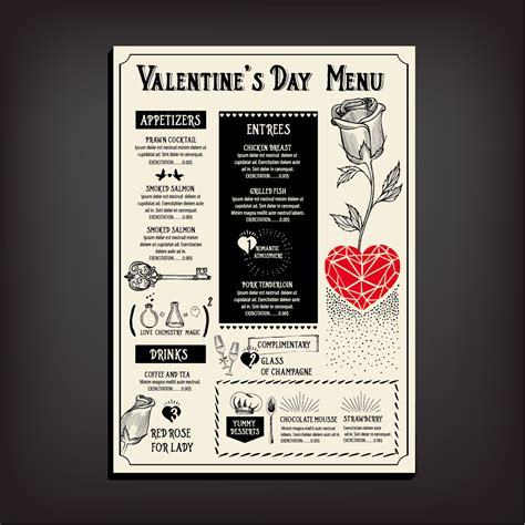 valentines day restaurant menu valentines day restaurant menu vintage vector 07 vector