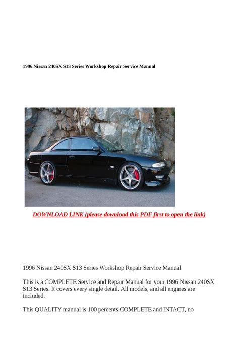 auto manual repair 1996 nissan 240sx on board diagnostic system 1996 nissan 240sx s13 series workshop repair service manual by buhbu issuu