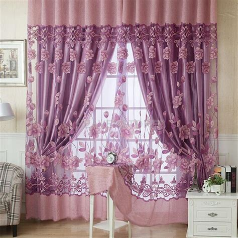 floral window curtains modern floral tulle voile door window curtain purple sheer
