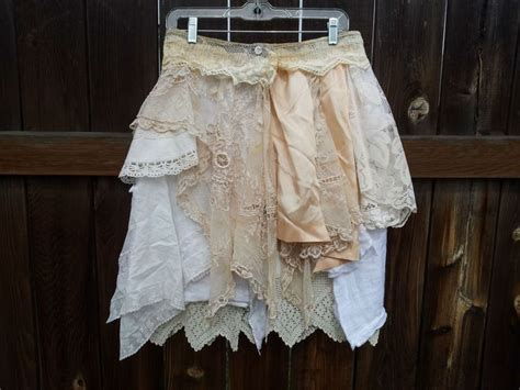 upcycled clothing vintage lace and linen skirt artsy