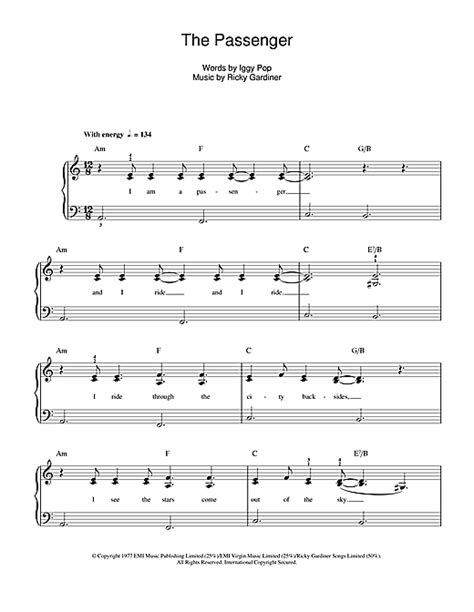 the passenger testo the passenger sheet by iggy pop beginner piano