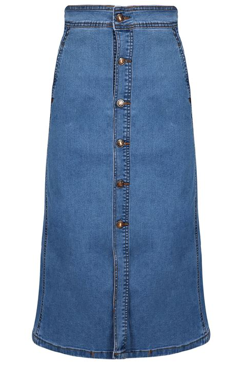 casual a line high waisted denim front button
