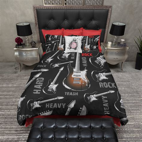 rock and roll crib bedding rock n roll guitar duvet bedding sets ink and rags
