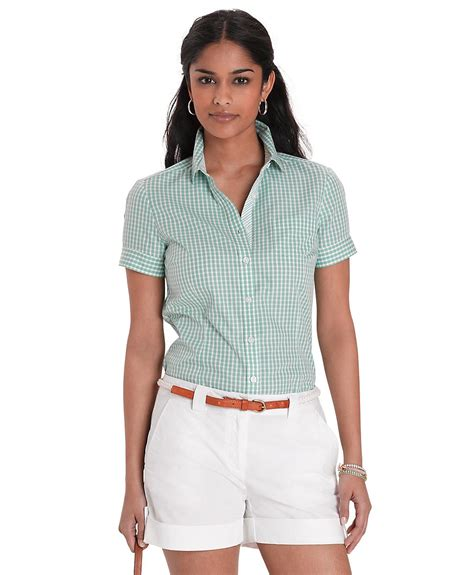 Blouse Kensi Free Bros Twiscone brothers cotton sleeve gingham blouse in green light green lyst
