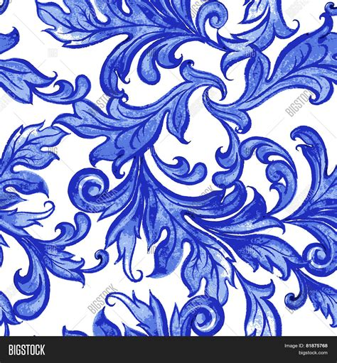 pattern blue vector vector blue floral watercolor texture pattern with flowers