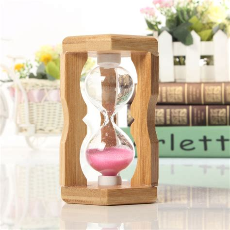 Hourglass Home Decor by 1 Minute Sandglass Bamboo Frame Hourglass Timer Time