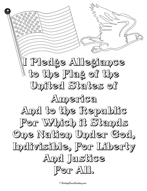 Constitution Preamble Pledge Of Allegiance Copywork Pledge Of Allegiance Coloring Page