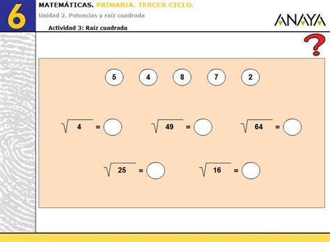 ejercicio de la raiz cuadrada ejercicios de ra 237 z cuadrada de alquer 237 a tic