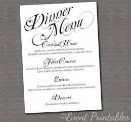 printable menu card diy wedding reception dinner menu black white