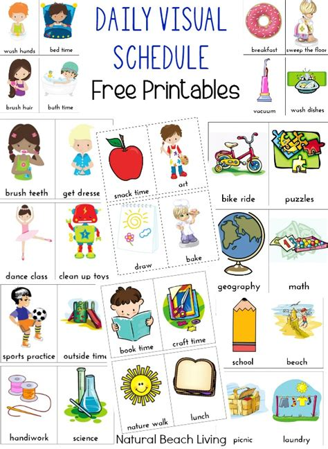 free printable daily visual schedule home visual schedule printables for morning and night
