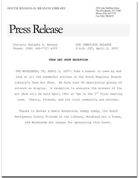 Artist Press Release Template show press release format search artist