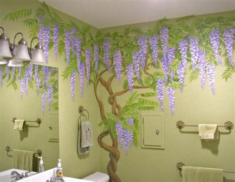 Bathroom Wall Murals wisteria vine in powder room mural gallery excellence