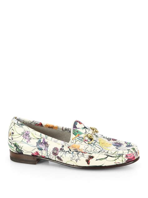 gucci floral loafers gucci floral print leather moccasin loafers lyst