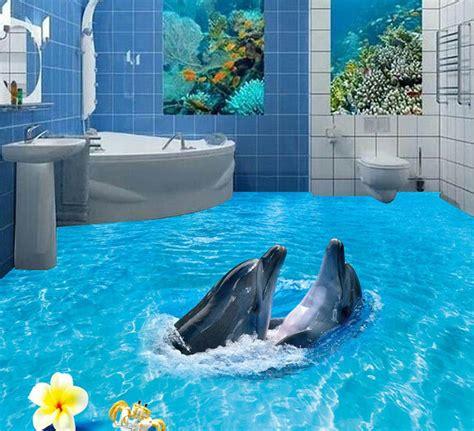 Dolphin Wallpaper For Bathroom by Aliexpress Com Buy 3d Floor Wallpapers 3d Bathroom Floor