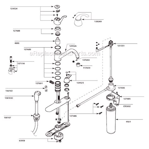 moen kitchen faucets parts diagram moen caf87254 parts list and diagram ereplacementparts com