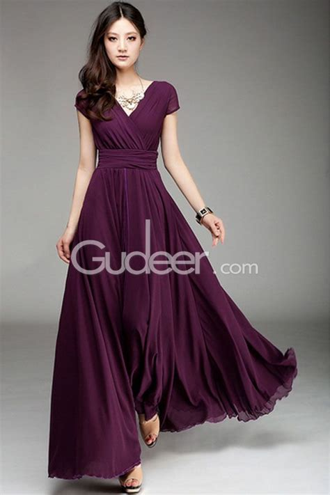 Longdress Busui Grape grape chiffon bridesmaid dress features sleeves along with v neckline pleated bodice