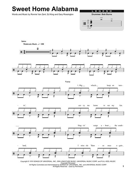 lynyrd skynyrd sweet home alabama sheet