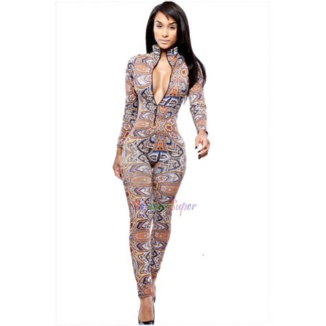 Vintage Yellow Color by Womens Printed Deep V Night Party Jumpsuit Bodycon