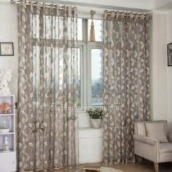 affordable sheer curtain in gray color with beige leaf