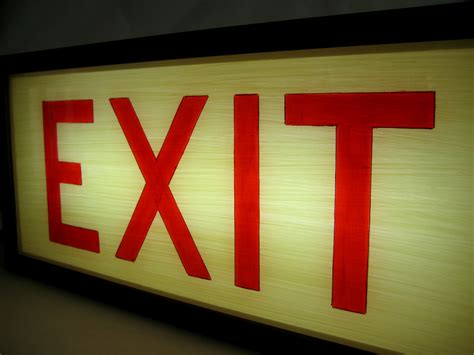 exit sign light box hand painted lighted vintage exit sign with wooden